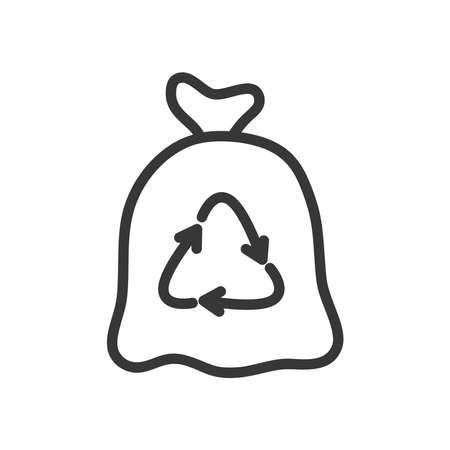 recycle bag icon over white background, line style, vector illustration