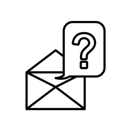 envelope and speech bubble with question mark icon over white background, line style, vector illustration 矢量图像
