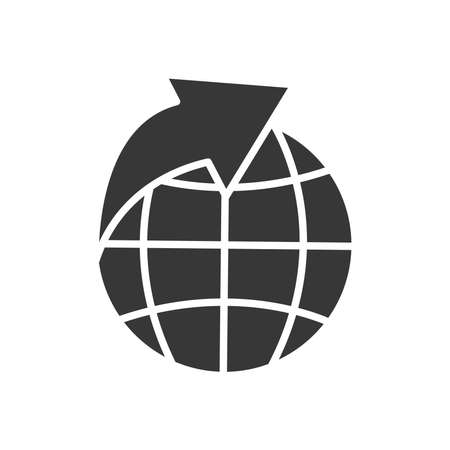 global sphere with arrow icon over white background, silhouette style, vector illustration