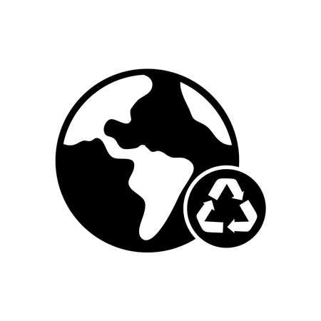 earth planet with recycle symbol icon over white background, silhouette style, vector illustration
