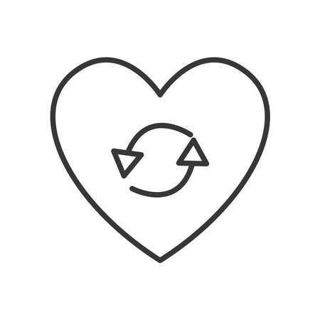 heart with round arrows icon over white background, line style, vector illustration 向量圖像