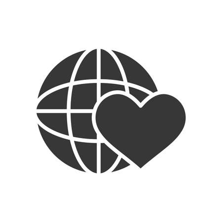 global sphere and heart icon over white background, silhouette style, vector illustration 向量圖像