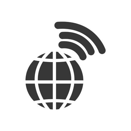 global sphere and network signal over white background, silhouette style, vector illustration 向量圖像