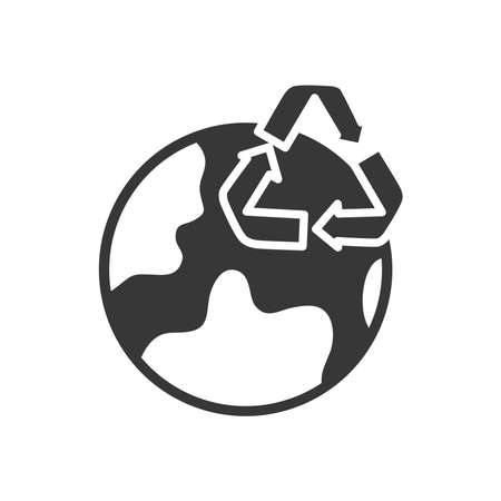 earth planet and recycle symbol icon over white background, silhouette style, vector illustration