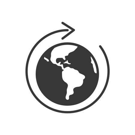 earth planet with circle arrow around over white background, silhouette style, vector illustration