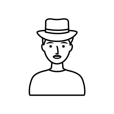 avatar man wearing a hat over white background, line style, vector illustration