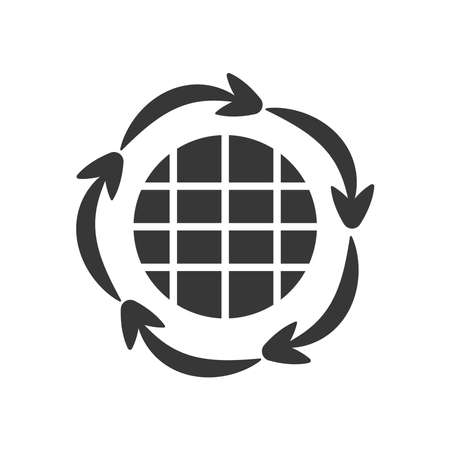 global sphere and circular arrows around over white background, silhouette style, vector illustration