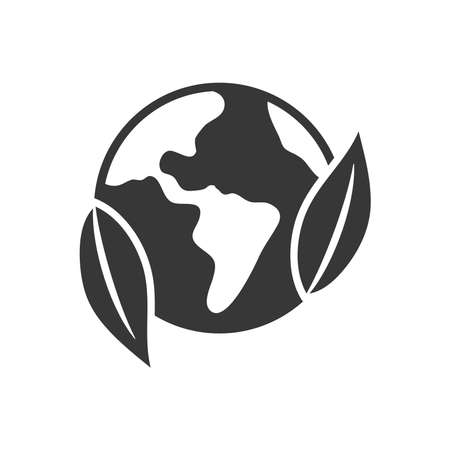 earth planet and leaves icon over white background, silhouette style, vector illustration