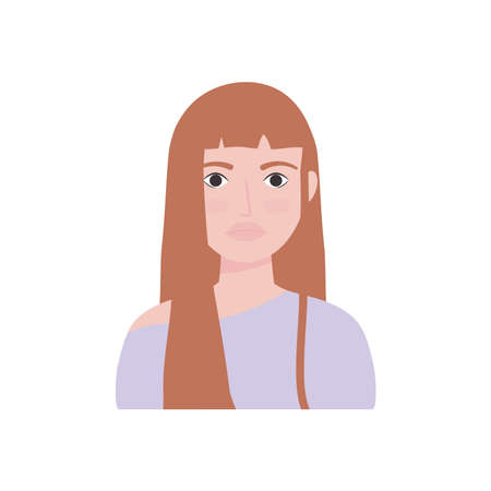 cartoon young woman icon over white background, flat style, vector illustration