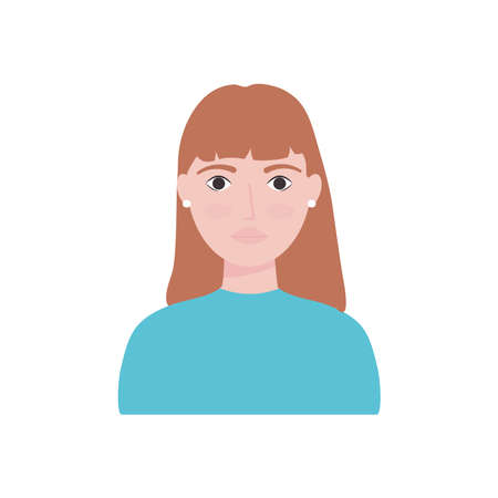 avatar woman wearing small earrings over white background, flat style, vector illustration
