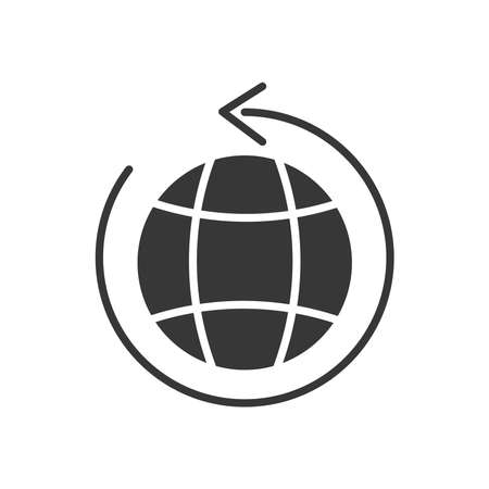 global sphere with circular arrow around over white background, line style, vector illustration