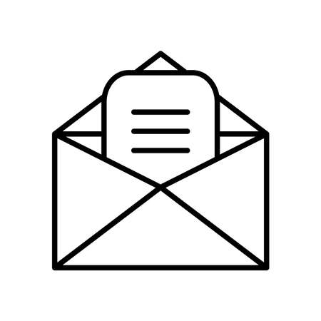letter and envelope icon over white background, line style, vector illustration 矢量图像