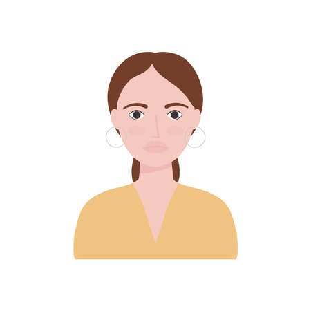 avatar woman with hoops earrings over white background, flat style, vector illustration