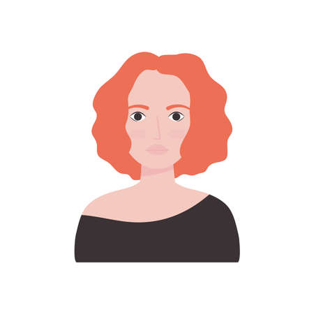 avatar woman with cool hairstyle over white background, flat style, vector illustration Illustration