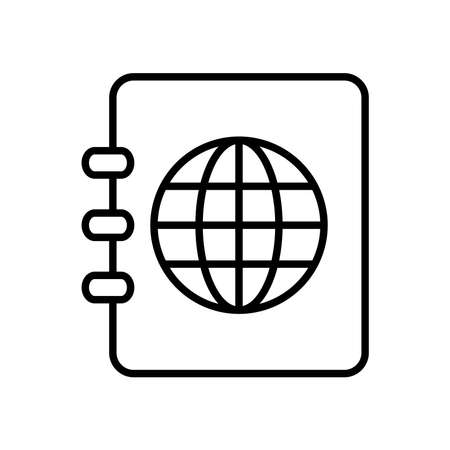 phonebook and global sphere icon over white background, line style, vector illustration