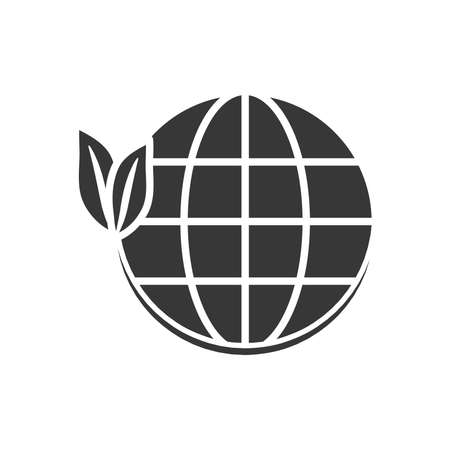 global sphere with leaves icon over white background, silhouette style, vector illustration 向量圖像