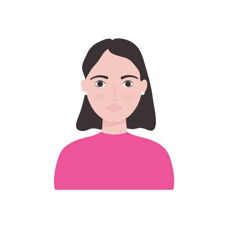 avatar woman cartoon icon over white background, flat style, vector illustration