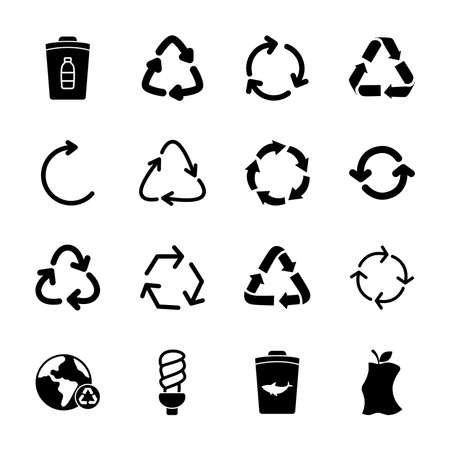 trash can and recycle icon set over white background, silhouette style, vector illustration Vecteurs