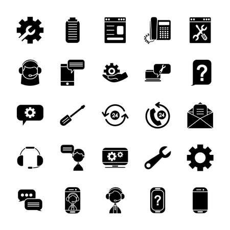 clipboard and support service icon set over white background, silhouette style, vector illustration
