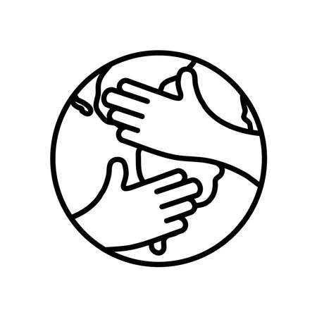 hands hugging a earth planet over white background, line style, vector illustration