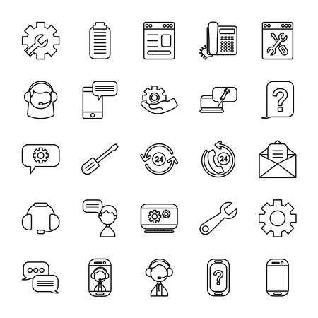 clipboard and support service icon set over white background, line style, vector illustration Vectores