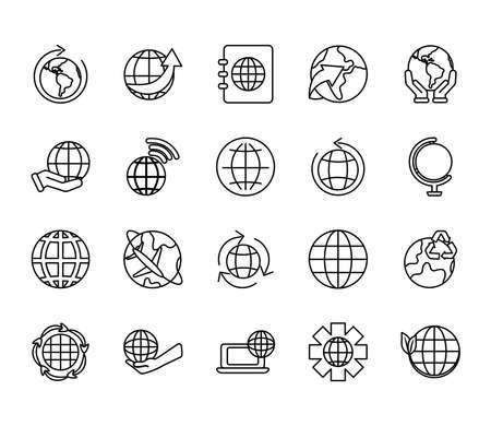 geography tool and world icon set over white background, line style, vector illustration Ilustracje wektorowe