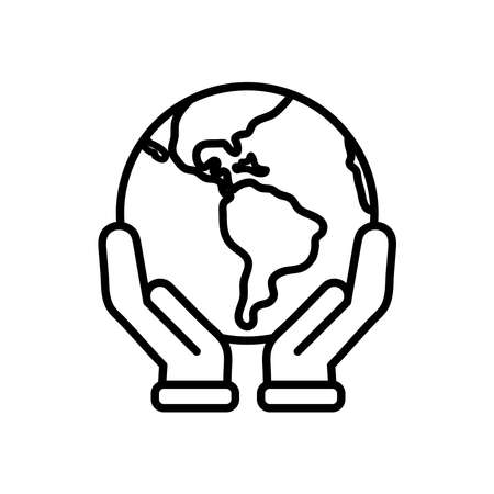 hands holding a earth planet icon over white background, line style, vector illustration