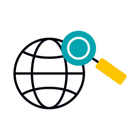 global sphere and magnifying glass icon over white background, half line half color style, vector illustration
