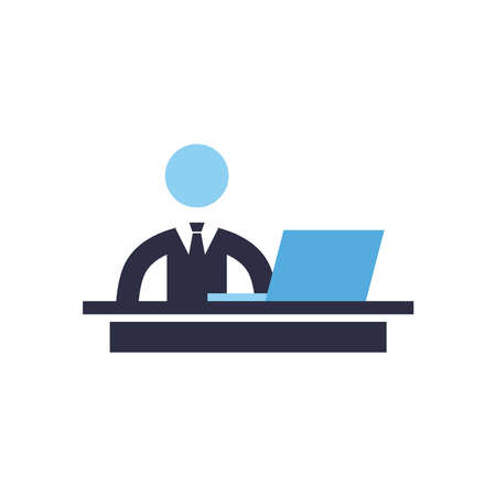 Businessman with laptop flat style icon design, Office business management and corporate theme Vector illustration Stock Illustratie
