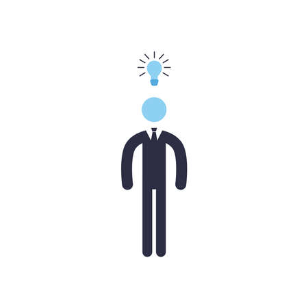 Businessman with light bulb flat style icon design, Office business management and corporate theme Vector illustration Stock Illustratie