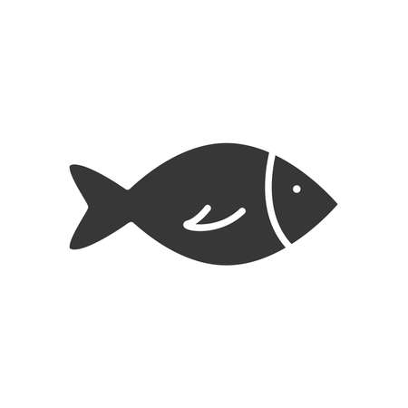 fish icon over white background, silhouette style, vector illustration