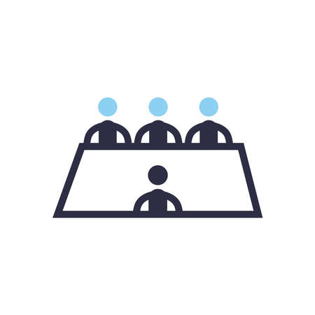 Businessmen avatars meeting on table flat style icon design, Office business management and corporate theme Vector illustration