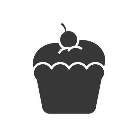 sweet cupcake with cherry on the top over white background, silhouette style, vector illustration Ilustração