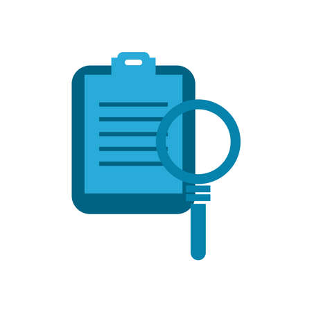 lupe with document flat style icon design, Searching theme Vector illustration