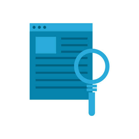 lupe with website flat style icon design, Searching theme Vector illustration