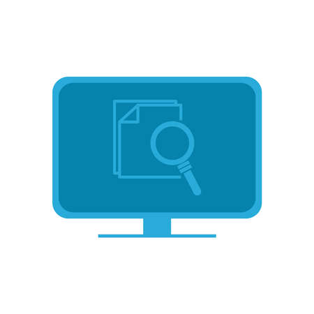 lupe with documents on computer flat style icon design, Searching theme Vector illustration