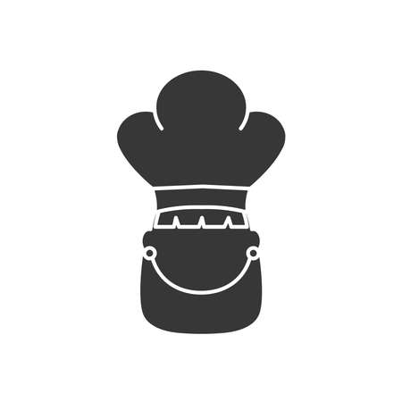 avatar woman wearing chef hat icon over white background, silhouette style, vector illustration