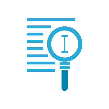 text edit cursor line inside lupe flat style icon design, Searching theme Vector illustration