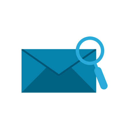 lupe with envelope flat style icon design, Searching theme Vector illustration