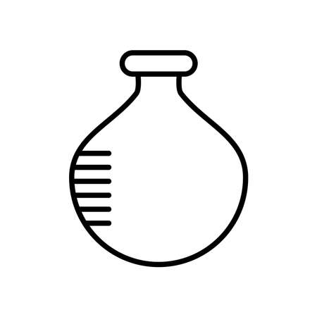 chemical round flask icon over white background, line style, vector illustration 向量圖像