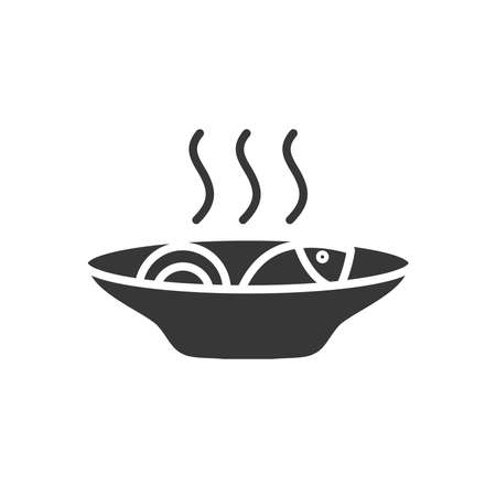 hot dish with fish icon over white background, silhouette style, vector illustration Ilustrace