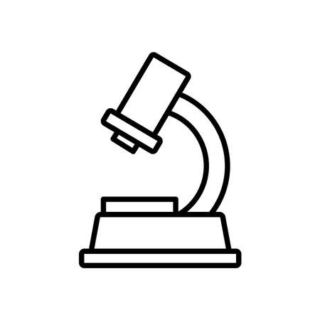 microscope tool icon over white background, line style, vector illustration