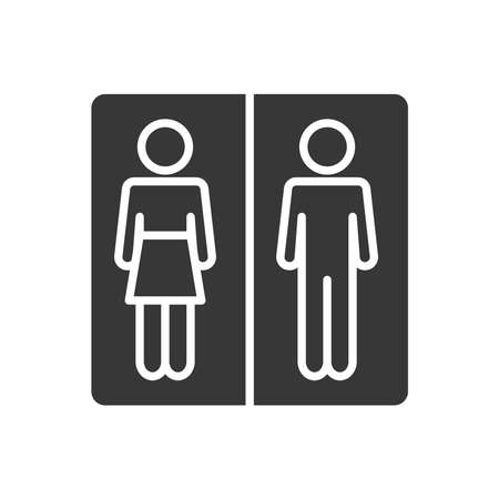 toilet sign board icon over white background, silhouette style, vector illustration