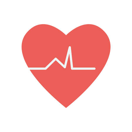 cardio heart icon over white background, flat style, vector illustration