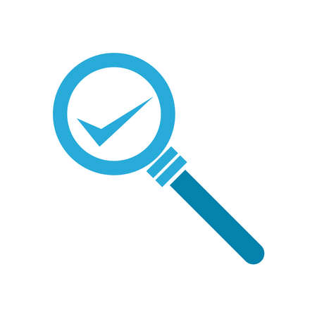 check mark inside lupe flat style icon design, Searching theme Vector illustration