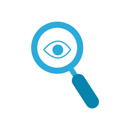 eye inside lupe flat style icon design, Searching theme Vector illustration Stock Illustratie