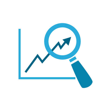 lupe with arrow increase chart flat style icon design, Searching theme Vector illustration