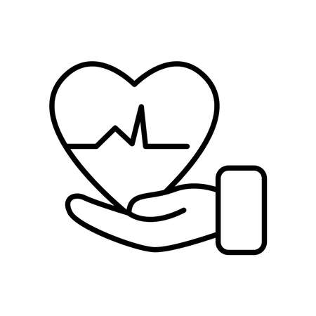 hand with cardio heart icon over white background, line style, vector illustration