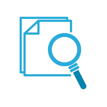 lupe with documents flat style icon design, Searching theme Vector illustration Stock Illustratie