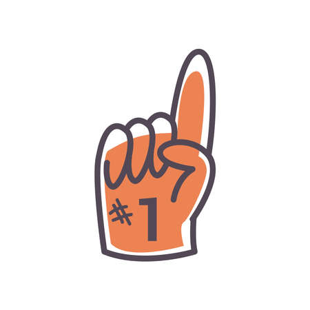 Number one glove line and fill style icon design, Sport hobby competition game training equipment tournement and play theme Vector illustration